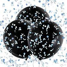 Konsait 3 Piezas 36'' Globos de Látex Negro Confetti Globos Gigantes para Fiestas niño or niña Baby Shower Decoracion Cumpleaños género Revela, con Confeti Rosa, Azul y Colores