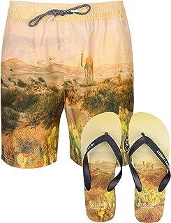 Tokyo Laundry Men's Desert Swim Shorts with Matching Flip Flops Size S- XL