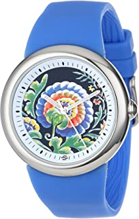 PeaceLove Unisex F36S-PLFBL-BL Round Stainless Steel Blue Silicone Strap and