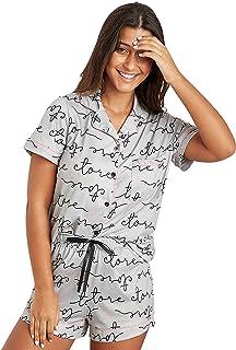 مجموعة قميص وشورت مطبع بشكل كامل مع صف ازرار للنساء