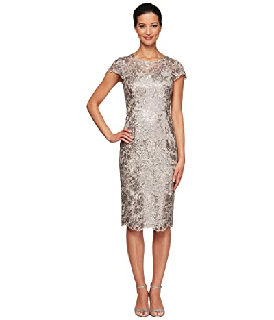 Alex Evenings Petite Short Embroidered Cap Sleeve Dress with Illusion Neckline and Detail Women