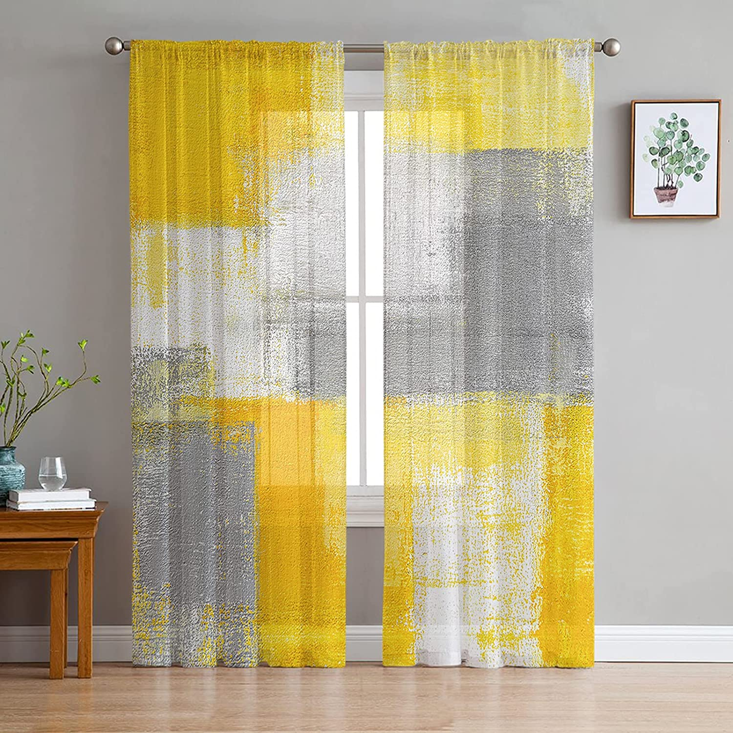 2 Panels Max 44% OFF Sheer Curtains Light Abstrac Filtering Drapes Topics on TV Geometric