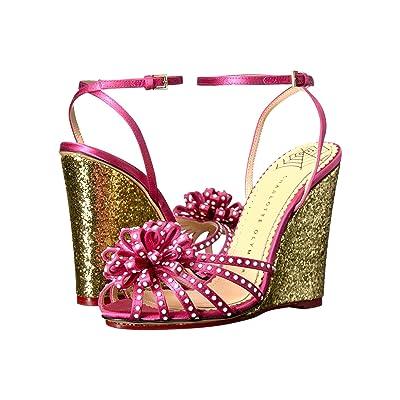 Charlotte Olympia Tina (Pretty Pink/Gold Satin/Glitter) Women