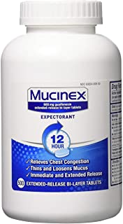 Chest Congestion, Mucinex 12 Hour Extended Release Tablets, 500ct, 600 mg Guaifenesin Relieves Chest Congestion Caused by ...