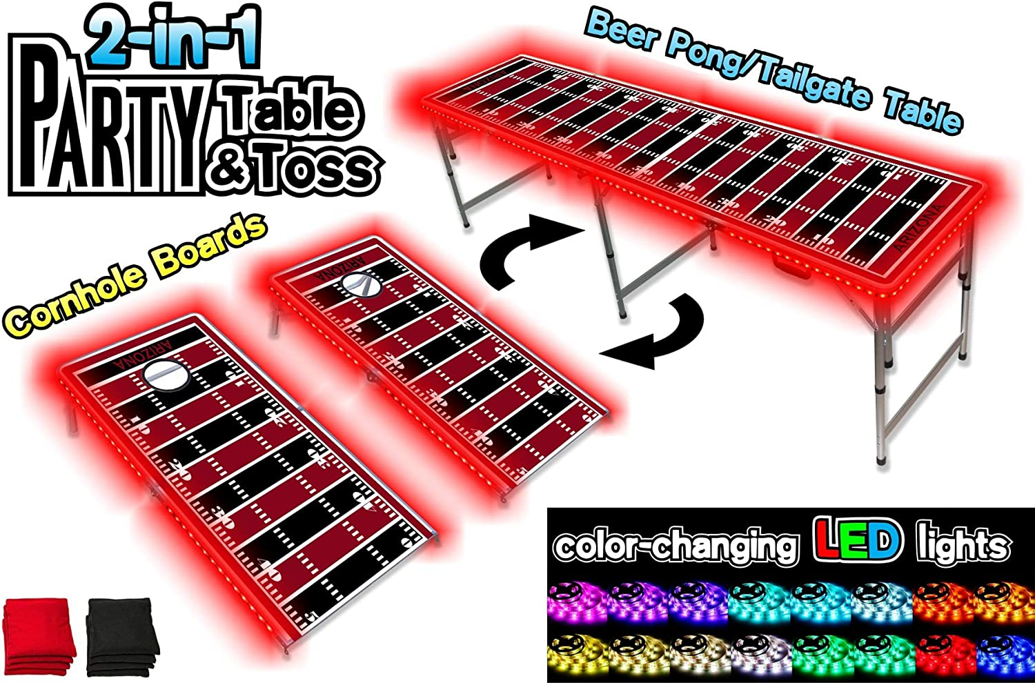PartyPongTables  2in1 Arizona Football Field with LED Lights 2in1 Cornhole Boards & Beer Pong Tailgate Table with colorChanging LED Glow Lights  Arizona Football Field