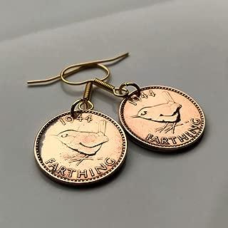 1944 United Kingdom Farthing coin earring Wren Jenny bird cute Manchester dangle & drop hook English British Briton World War 2 e000001