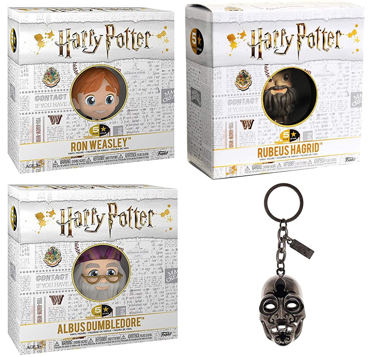 Funko Open Harry Potter Mini Figure figs 5 Star Character Wizard Collectibles Hagrid / Dumbledore & Ron Weasley Bundled with + Death Mask Keychain 4 Items