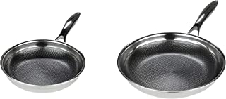 Frieling USA Black Cube Hybrid Stainless/Nonstick Cookware Fry Pans, 8-Inch and 12.5-Inch one each Set