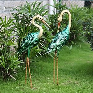Crane Garden Statues Outdoor Heron Metal Yard Art Statues and Sculptures for Lawn Patio Backyard Decoration,Set of 2