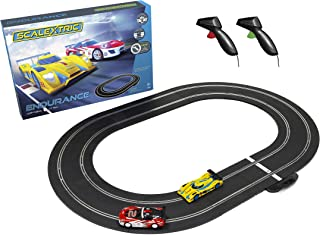 Scalextric LMP & GT Endurance LMP vs GT Oval Slot Car Analog 1:32 Race Track Set C1399T, Yellow/Red & White