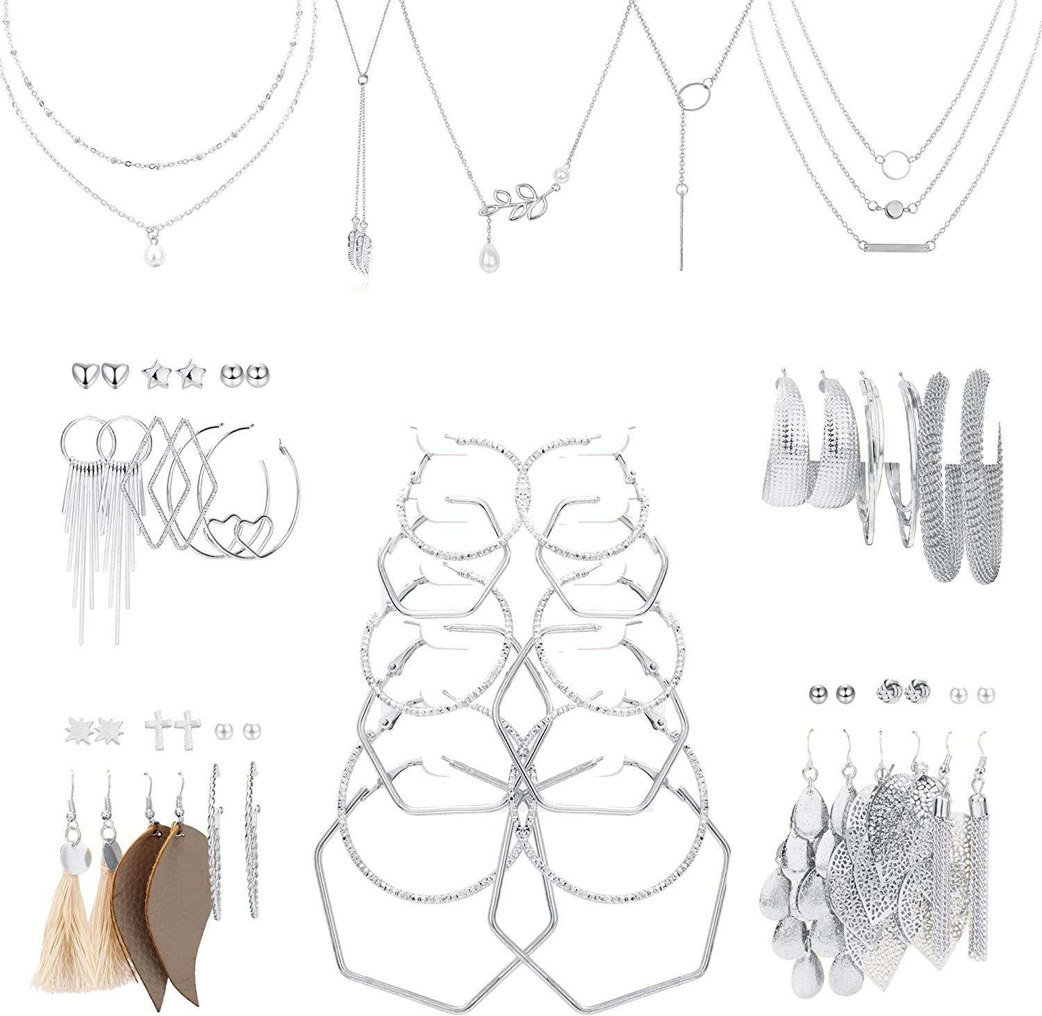 JOERICA Necklace and Earring Jewelry Set with 27 Pairs Ball Dangle Hoop Stud Earrings and 5 PCS Layered Necklaces for Women Fashion Jewelry and Valentine Birthday Party Gift