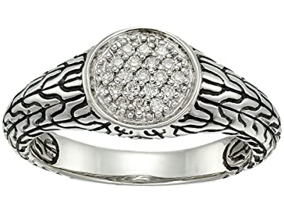John Hardy Classic Chain Silver Pave (0.11CT) Signet Ring (Diamond) Ring
