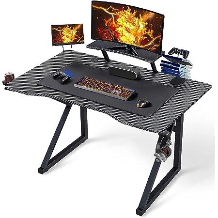 Yaheetech Bureau Gaming 110x70cm Bureau Gamer Ergonomique Table de Jeu pour Ordinateur PC Domicile avec Support de Moniteur Réglable, Porte-gobelet, Support de Poignée