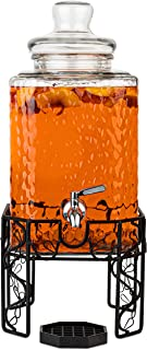 2.5 Gallon Glass Beverage Dispenser with Stainless Steel Spigot on Metal Stand and Drip Tray- Decorative Mason Jar Dispenser For Sun Tea, Iced Tea or Kombucha