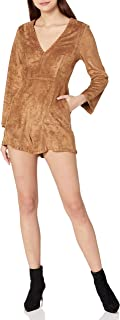 ASTR the label Womens ACP6046 Beatrice Faux Suede Long Sleeve V Neck Romper Jumpsuit - Brown
