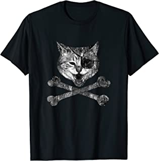 Cat Pirate crossbones and eye patch edgy T-shirt