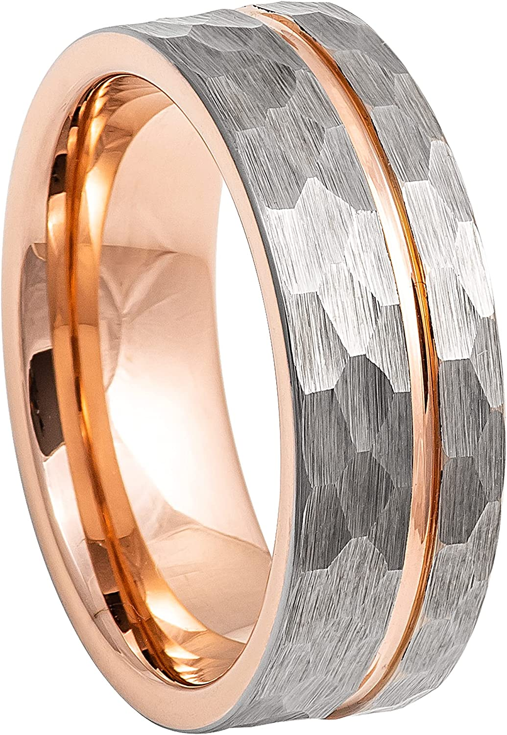 Max 75% OFF Tungsten Ring 2-Tone Rose Gold Hammered Off Grooved Center Virginia Beach Mall Men's