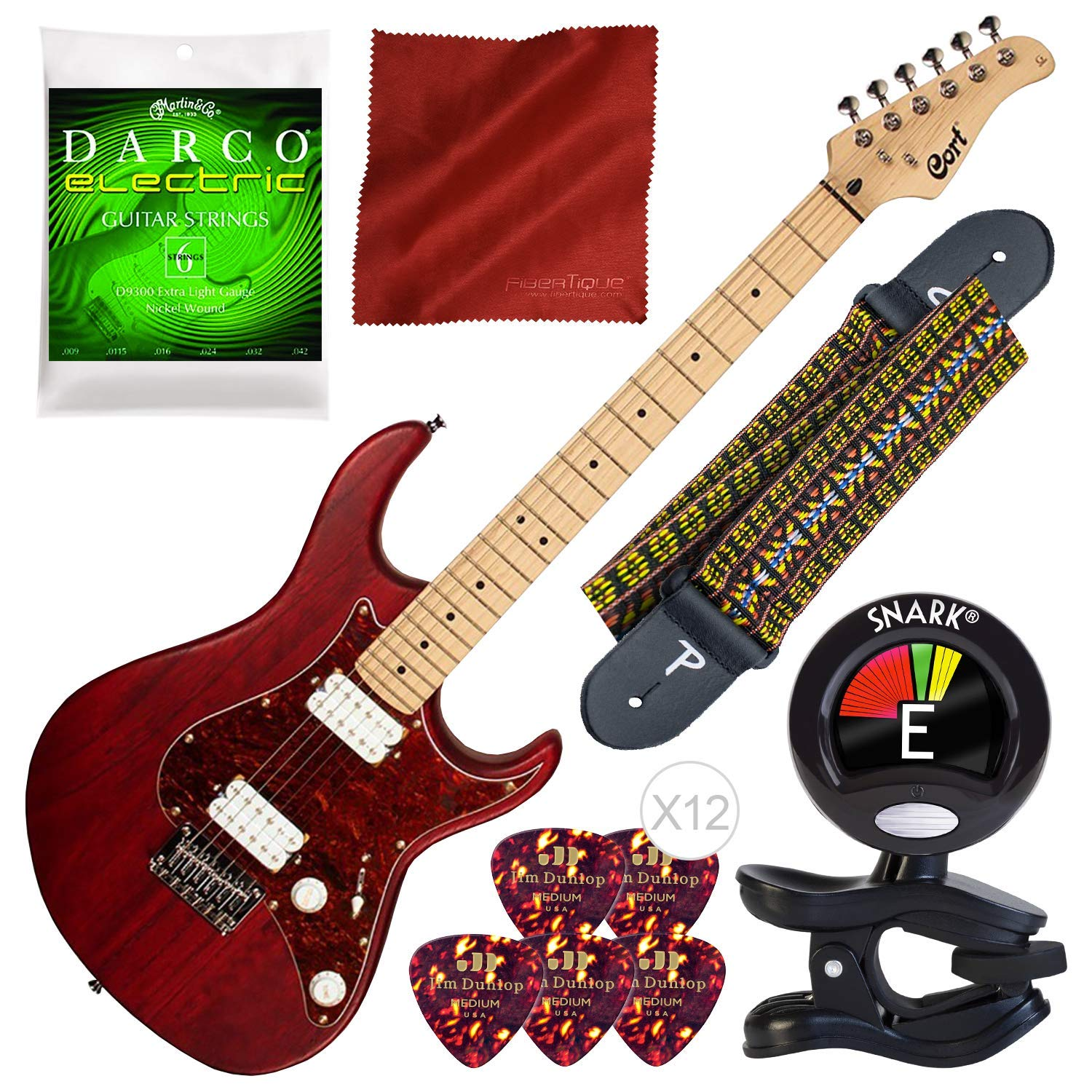 Cheap Cort G Series G100HH Electric Guitar Open Pore Black Cherry with Tuner Strings and Bundle Black Friday & Cyber Monday 2019