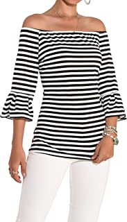 Women's Off Shoulder Tops Stretch Flared 3 4 Sleeve Striped T Shirt Blouse