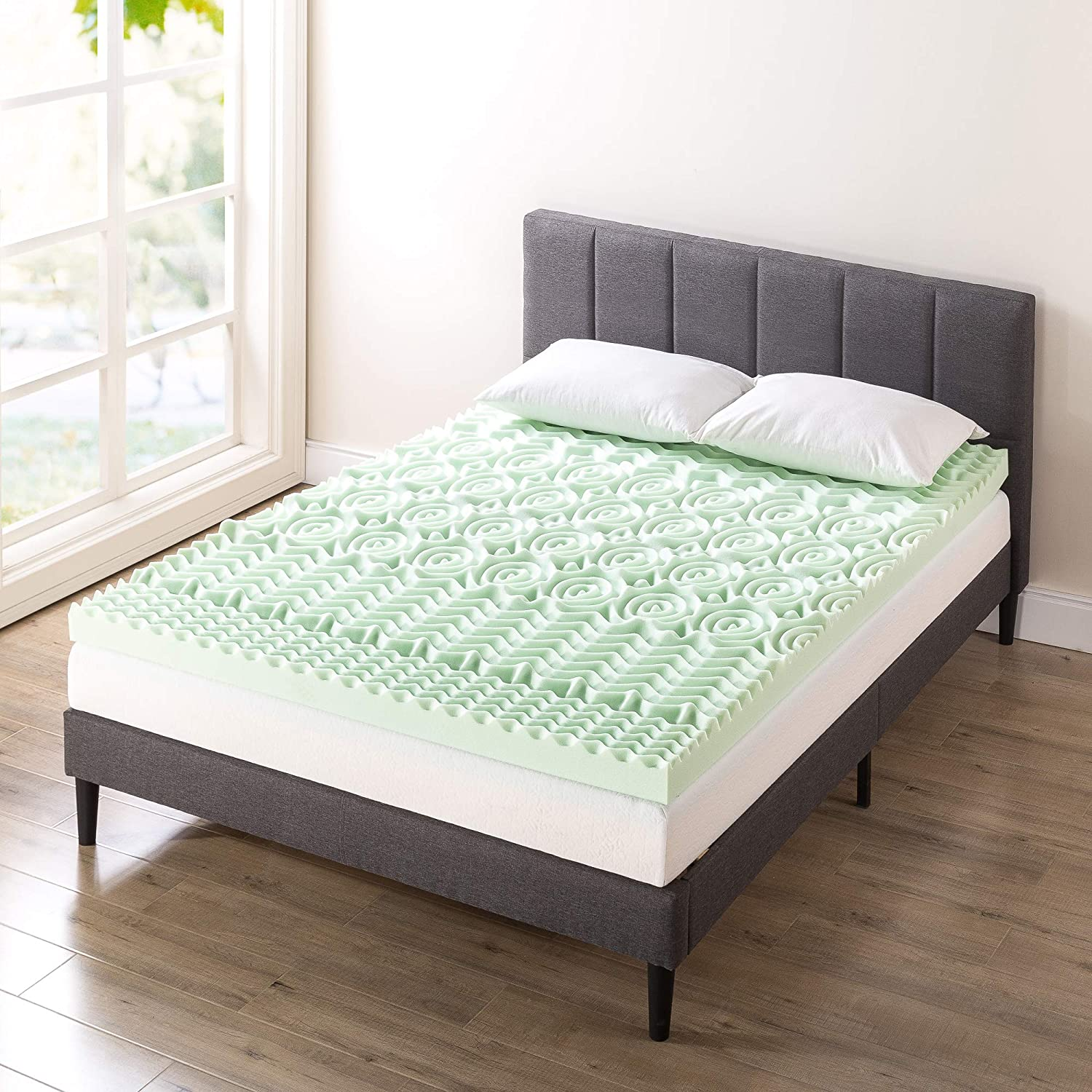 Mattress Pad with Calming Aloe Vera Infusion Best Price Mattress 1.5 Inch 5-Zone Memory Foam Topper Short Queen CertiPUR-US Certified