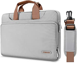 MOSISO 360 Protective Laptop Shoulder Bag Compatible with 13-13.3 inch MacBook Air, MacBook Pro, 13.5 Surface Laptop 3/2/1, Surface Book 2/1, Briefcase Sleeve with Back Trolley Belt, Gray