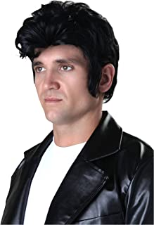 Adult Deluxe Grease Danny Black Wig with Sideburns