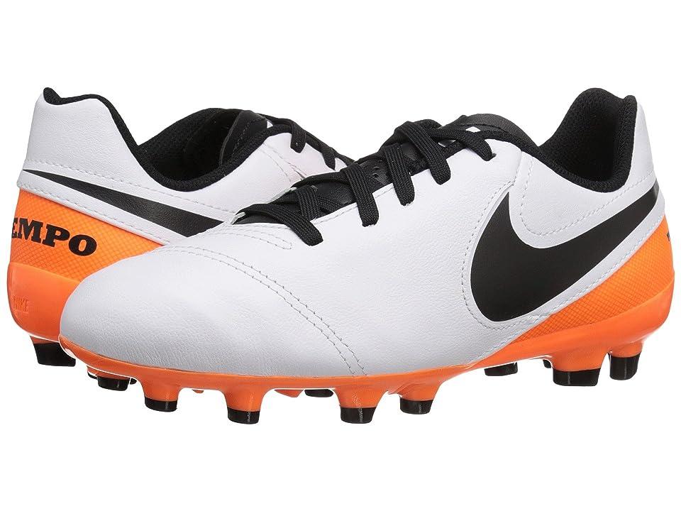 Nike Kids Jr Tiempo Legend VI FG Soccer (Toddler/Little Kid/Big Kid) (White/Total Orange/Black) Kids Shoes