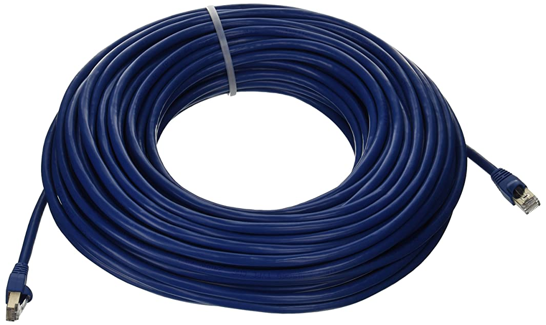Monoprice 100FT 24AWG Cat6A 500MHz STP Ethernet Bare Copper Network Cable - Blue