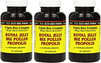 Y.S. Eco Bee Farms, (3 Pack) Royal Jelly, Bee Pollen, Propolis, Plus Korean Ginseng, 90 Capsules