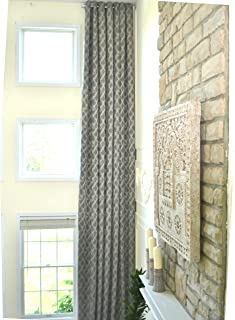 Ikiriska Extra Long Blue Beige Gray Jacquard Curtain with Diamond Pattern with Grommet top 16, 17, 18, 20 feet 100 inches Wide 2 Story Long (Gray and Beige, 18 ft)