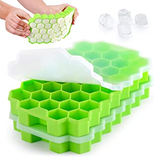 Zulay Silicone Ice Cube Tray Set (2 Pack) - Honeycomb Shaped Flexible Ice Trays With Covers - BPA Free Silicone Ice Tray M...