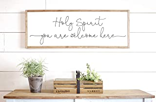 Bruyu5se Framed Wood Sign Rustic Wooden Sign Holy Spirit You are Welcome Here Sign Scripture Signs Living Room Wall Decor Bible Verse Sign Holy Spirit You are Welcome Here 6 x 20 Inch Decorative Sign