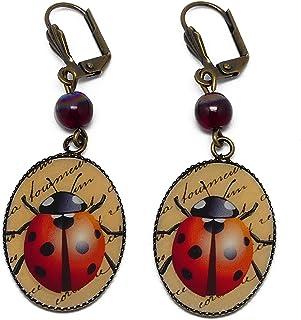 Orecchini resina Beetle rosso beige nero ottone bronzo perline personalizzate regali di Natale nozze amici cerimonia compl...