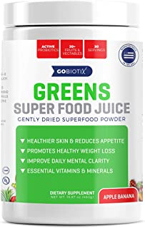 GoBiotix Greens Superfood Juice - Organic Green Veggie Powder - 20+ Fruits & Vegetables - Promotes Gut Health - Antioxidant with Probiotic Blends - Gluten Free Non-GMO Vegan - Apple Banana 450g