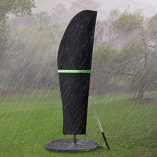 GEMITTO Sonnenschirm Schutzhülle mit Stab, Sonnenschirm Abdeckung 2 bis 4 M Große Ampelschirm Schutzhülle, Wetterfeste, UV-Anti, Winddicht und…
