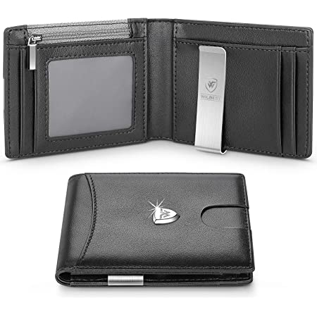 wilbest® Wallets Mens RFID Blocking with Money Clip, Slim Genuine Leather Men Wallet with Coin Pocket, Credit Card Holders, ID Window. Minimalist Mini Wallet Bi-fold for Gents Men with Gift Box -Black