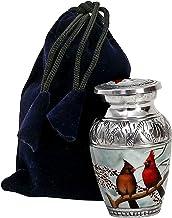 hlc Beautiful Small Lovely Cardinal Couple Bird Keepsake Urn Qnty 1 - Keepsake Urn for Human Ashes with 1 Velvet Box Bag -...