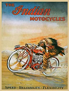 Hunnry The Indian Motorcycles Póster De Pared Metal Vintage Placa Cartel Decorativas Estaño Signo Vendimia Plaque por Bar Café Hogar Restaurante Dormitorio