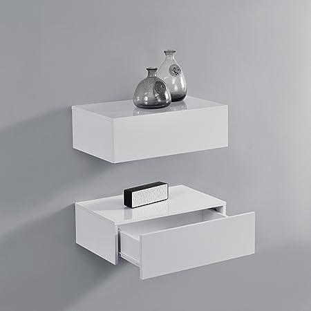 [en.casa] 2 Étagères Murales pour Chambre à Coucher avec 2 Tiroirs Blanc Laqué 46x30x15cm