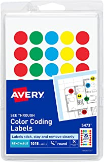 Avery 05473 See Through Removable Color Dots, 3/4 dia, Assorted Colors (Pack of 1015)