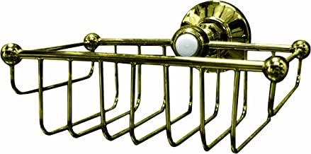 Westbrass Wall Mount Wire Shower Basket , Polished Brass, 1857-01