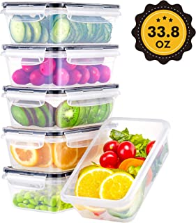 BINLAN Food Storage Containers with Airtight Lids [6Pack, 33.8 Oz] - Plastic Containers with Lids - Meal Prep Containers Leak Proof Lunch Containers Plastic Storage Containers with Lids-Black