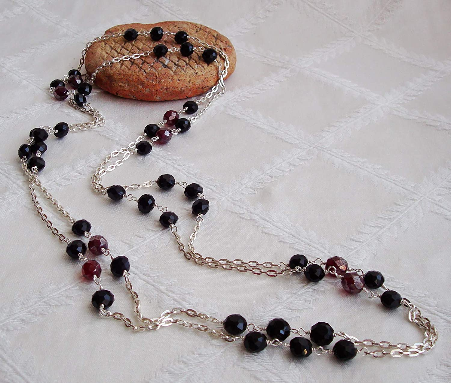 2021new shipping free shipping Black and Deep Red Faceted El Paso Mall Glass Wrapped Crystal Long Wire Sterl