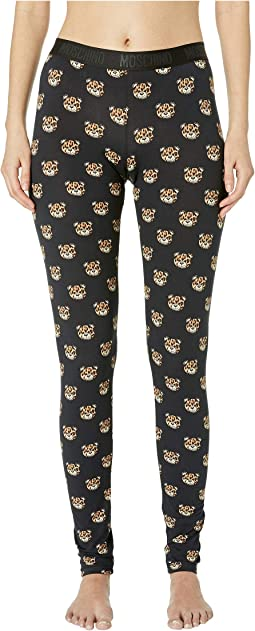 Jersey Stretch Leggings w/ Tiger Teddy Bears All Over