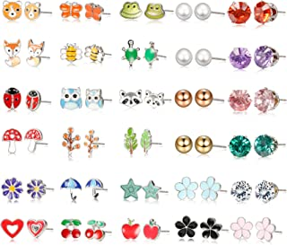 Stainless Steel 30-60 Pairs Stud Earrings for Women Mixed Color Cute Animals CZ Jewelry Earring Set Heart Star Fox Bee Frog Ladybug Daisy Flower Tree Mushroom Umbrella Rose Gold White