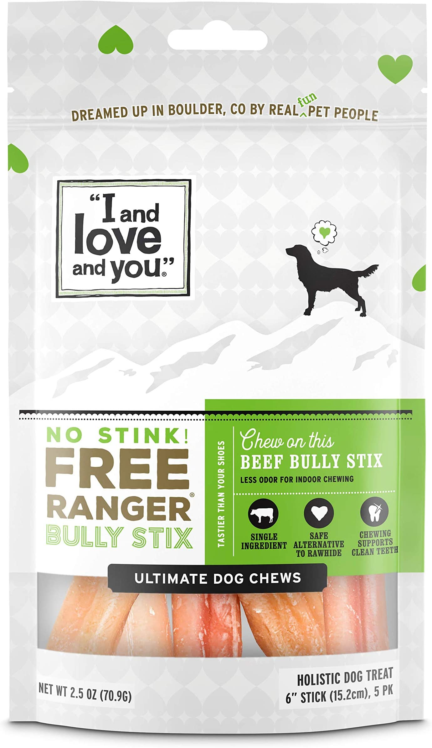 """I and love and you"" Free Ranger Natural Grain Free Bully Stix - 100% Bully Stick / Beef Pizzle (6-inch and 12-inch)"