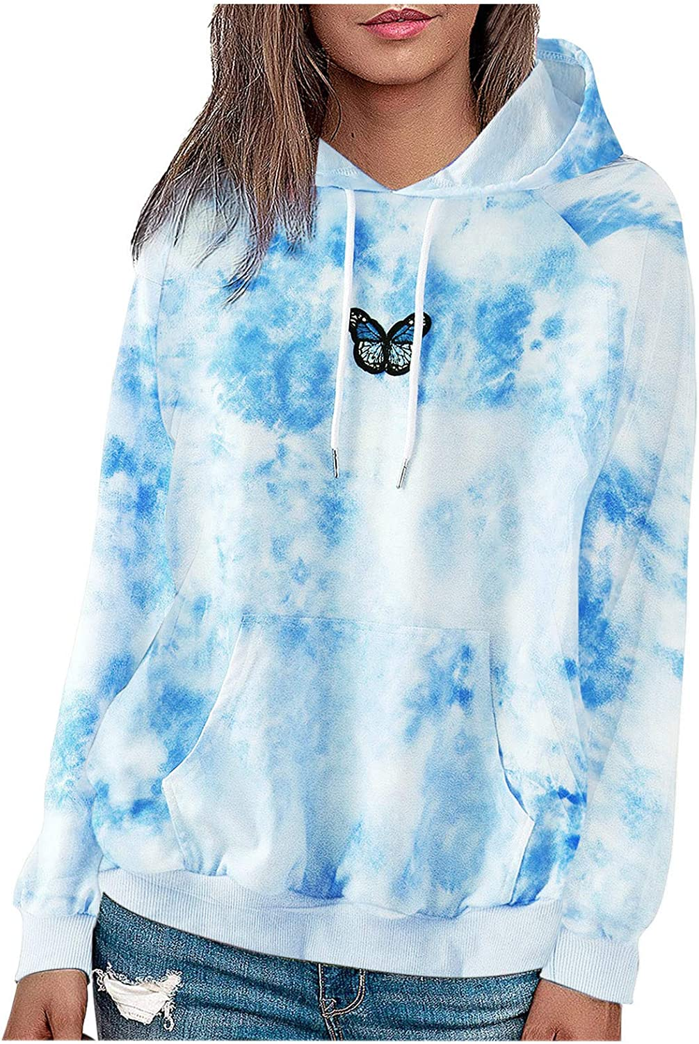 Toeava Womens Tie-Dye Butterfly Printing Long Sleeve Blouse Hooded Casual Sweater Drawstring Pullover Tops