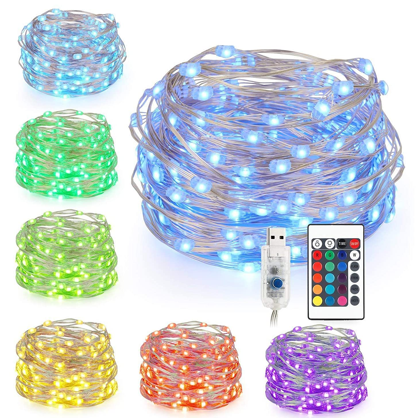 String Lights with RF Remote LED Strip Lights 16FT 50LED RGB Remote Control Waterproof Decorative Lights for Bedroom Patio Parties (16ft)