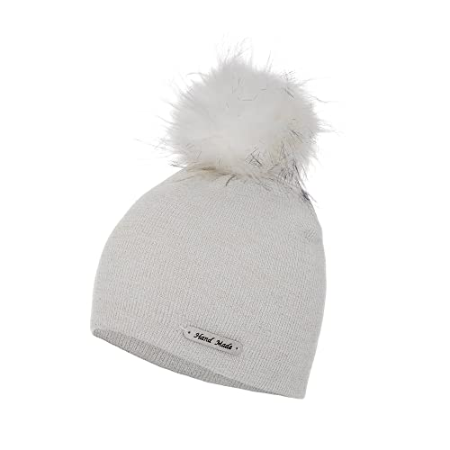 81ce1012872 Love Lola Womens Bobble Hats Beanie Lurex Thread Faux Fur Pom Pom Winter  Woolly Knitted Ski