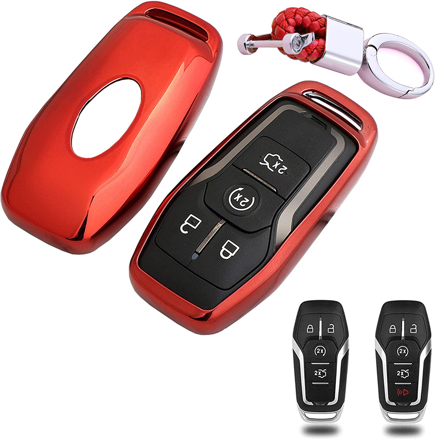 BINOWEN for Ford Key Fob Case Shell Key Holder Rings Keychains Premium Soft TPU Full Protection Fit for Ford Fusion F-150 Edge Explorer Mustang Lincoln MKZ MKC 3//4//5 Buttons Smart Key Biue
